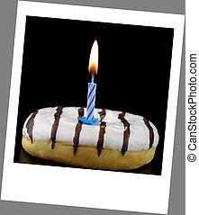 Donut and birthday candle with polaroid photo look
