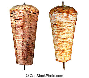 Turkish doner kebab with real coal fire.
