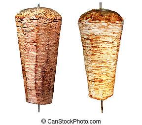 turc, doner, chiche-kebab, vrai, Charbon, brûler