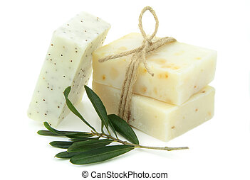 Natural vegetal soap ,on white background