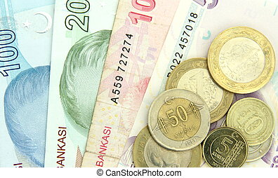 Turkish banknotes and coins on white background