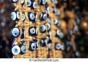 Turkish superstition evil eye beads, close up image