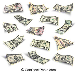 Set of dollar bills - Collection of dollar banknotes...