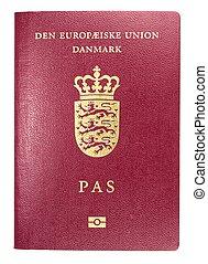 Danish passport, close up image