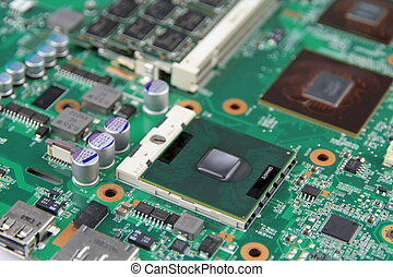Electronic Circuit - Motherboard close up image