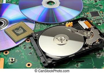 Disco, duro, electrónico, microprocesador, circuito