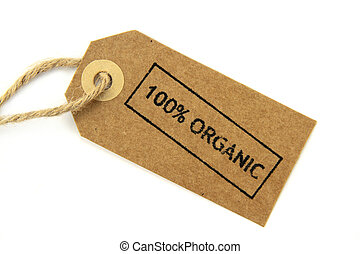 100 Organic stamped label on white background