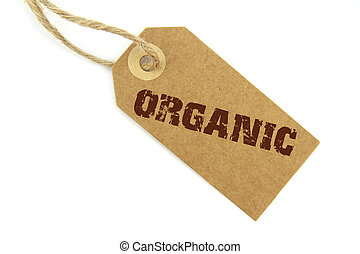 Natural paper label and brown organic text