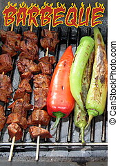 BBQ - Shish kebab and grilled peppers close up image