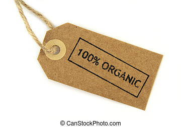 100 Organic stamped label with knotted rope on white...