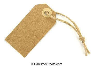 Natural paper blank label on white background