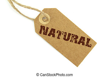 Natural label on white background