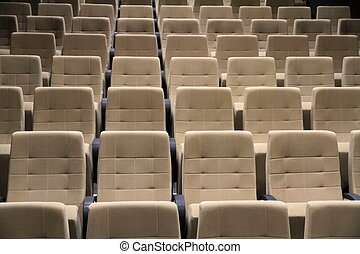 Cinema or theater seats close up image
