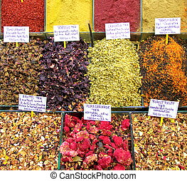 Colorfull Turkish spices bazaar in istanbul close up image