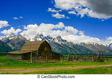 Old Barn - Old barn with the Grand Tetons in the background.
