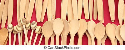 Wooden spoons close up image