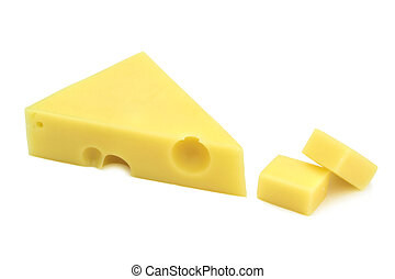 Emmental cheese on white background