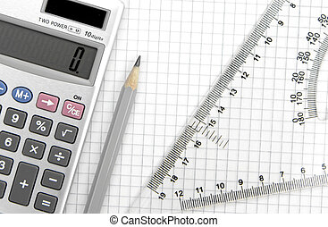 Calculator, lead pencil and ruler on squared paper close up...