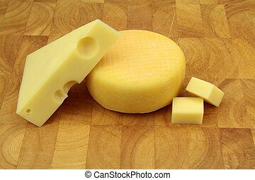 Emmental and kashar cheese close up image