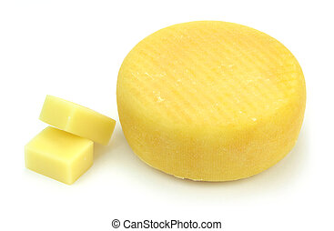 Cheeses on white background