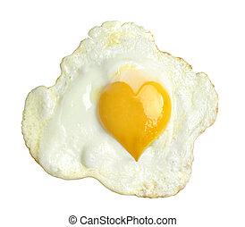 frito, huevo, corazón, forma, yema