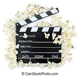 Movie clapper with popcorn ,close up image