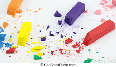 Crumbled color chalks ,on white background