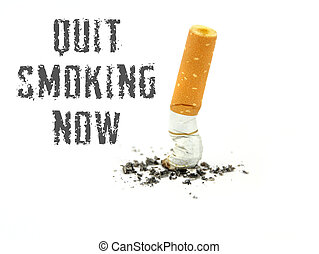 Quit smoking now ,on white background