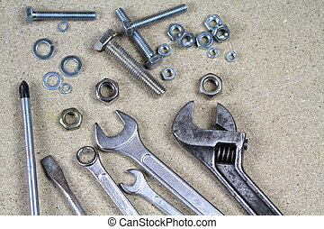 Various bolts ,nuts and monkey - Wrench, monkey wrench and...