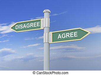3d disagree agree road sign - 3d illustration of roadsign of...