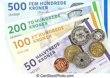 Danish kroner ( DKK ), coins and banknotes.