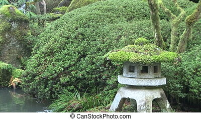 Japanese Stone Lantern Pagoda and Waterfall