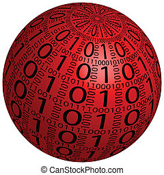 sphere - Abstract 3D sphere made up of binary code on a...