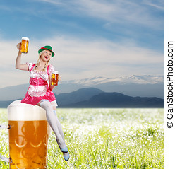 Tiroler or oktoberfest woman with beer - crazy tiroler or...