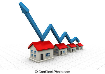 3d house and arrow graph Growth in real estate