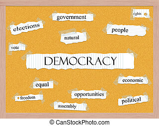 Democracy Corkboard Word Concept with great terms such as...
