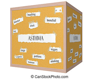 Asthma 3D cube Corkboard Word Concept with great terms such...