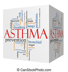 Asthma 3D cube Word Cloud Concept with great terms such as...