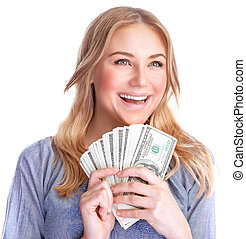 Happy woman with money - Closeup portrait of cute happy girl...