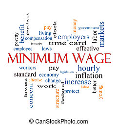 Minimum Wage Word Cloud Concept with great terms such as...