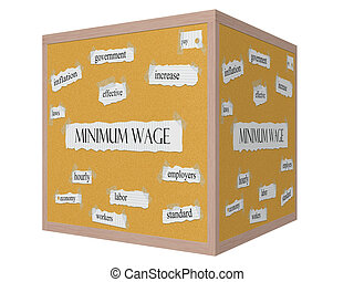 Minimum Wage 3D cube Corkboard Word Concept with great terms...
