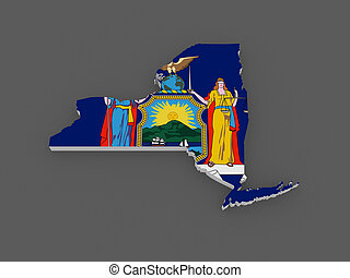 Three-dimensional map of New York. USA.