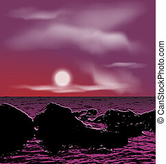 Outdoor background, sea stones during night - Illustration...