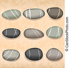 Sea pebbles collection on sand background