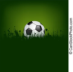 Football card with ball in grass