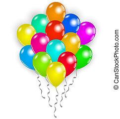 Set colorful balloons on white background - Illustration set...