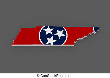 Three-dimensional map of Tennessee. USA.