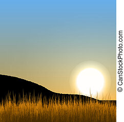 Sunrise with sun, mountain and grass field - Illustration...