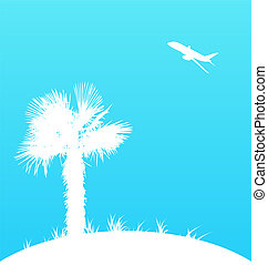 Summer background with palm tree and airplane