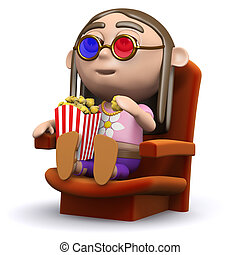 3d Hippy at the movies - 3d render of a hippy sitting in a...